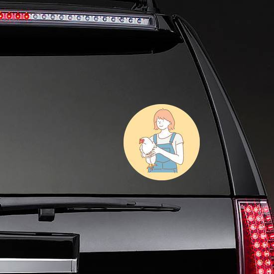 A Girl Holding A Healthy Chicken Illustration Sticker example