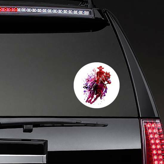 Watercolor Cowboy Sticker on a Rear Car Window example