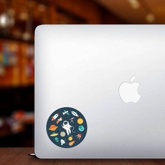 Circular Space Objects Sticker