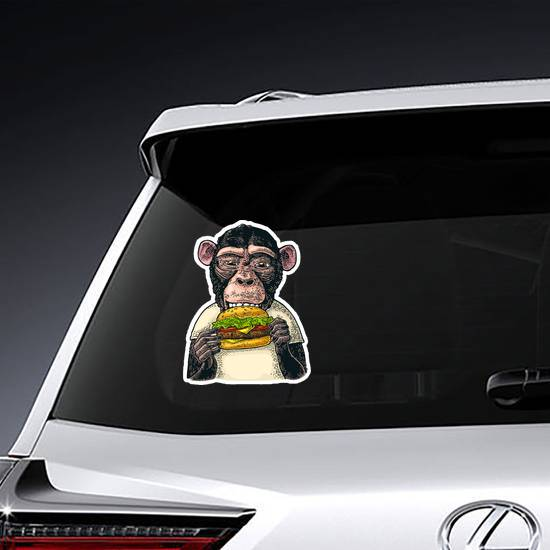 Color Monkey Eating A Hamburger Sticker
