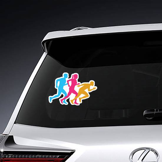 Colorful Silhouettes Of Runners Sticker