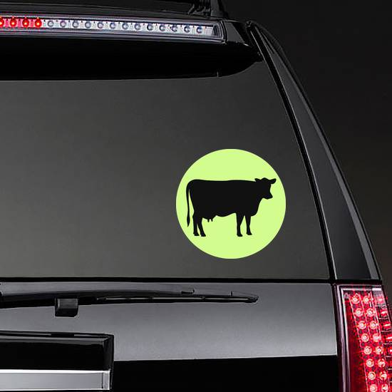 Cow Black Silhouette Illustration On Green Sticker