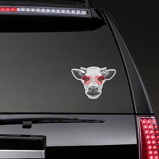 Cow In Love! Portrait Of Cow Sticker