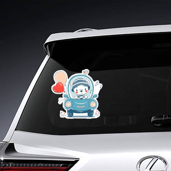 Cute Baby Bear Driving Sticker example