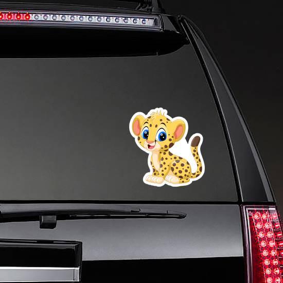 Cute Baby Cheetah Cartoon Sticker