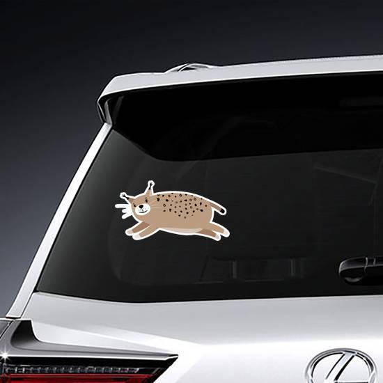 Cute Bobcat Jumping Sticker