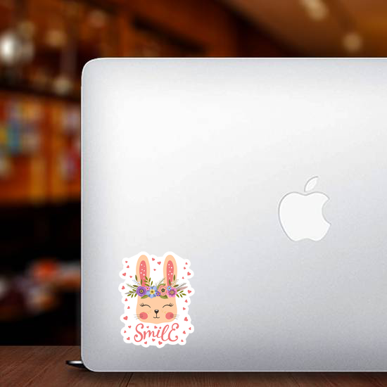 Cute Bunny With Floral Wreath Sticker