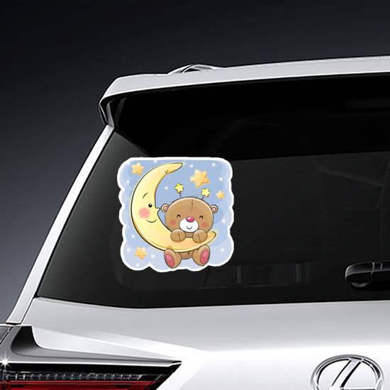Cute Cartoon Teddy Bear On The Moon Sticker