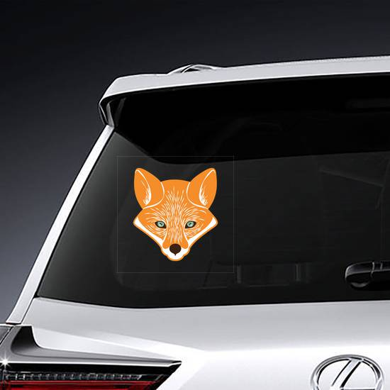 Cute Etched Fox Head Sticker