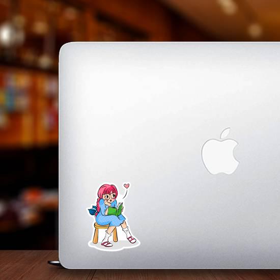 Cute Girl Reading A Book Cartoon Sticker