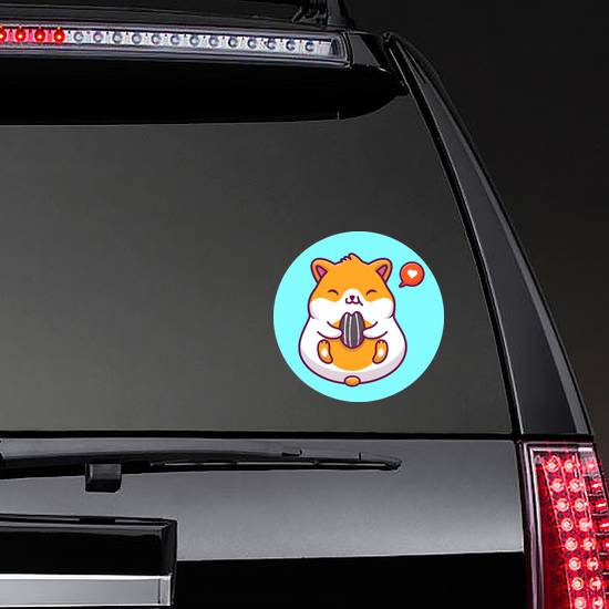 Cute Hamster Eating Icon Sticker