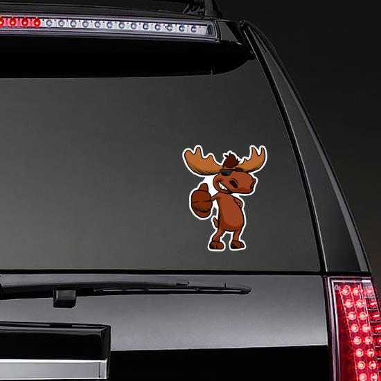 Cute Moose Cartoon Thumbs Up Sticker