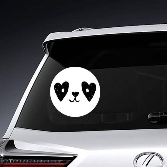 Cute Panda Face With Hearts Sticker
