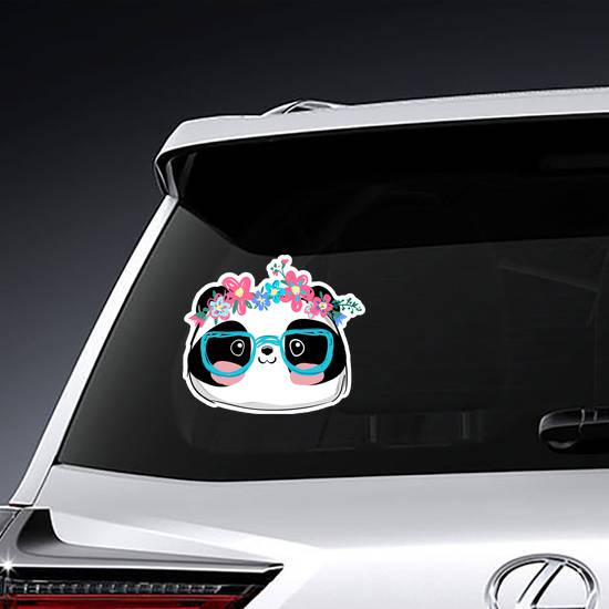 Cute Panda With Glasses And Flowers Sticker