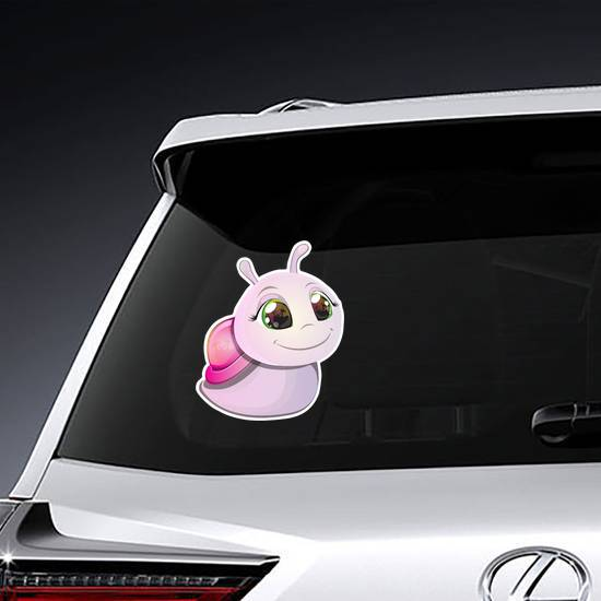 Cute Pink Snail Sticker example