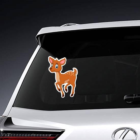 Cute Prancing Deer Cartoon Sticker