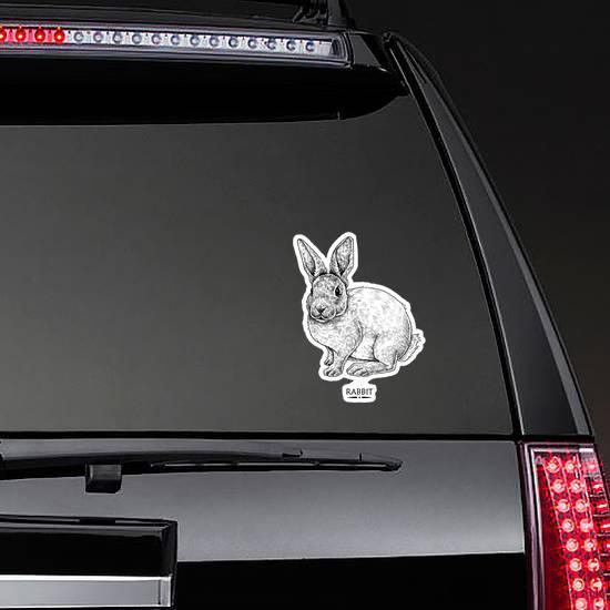 Cute Rabbit Illustration, Hand Drawn Style Sticker