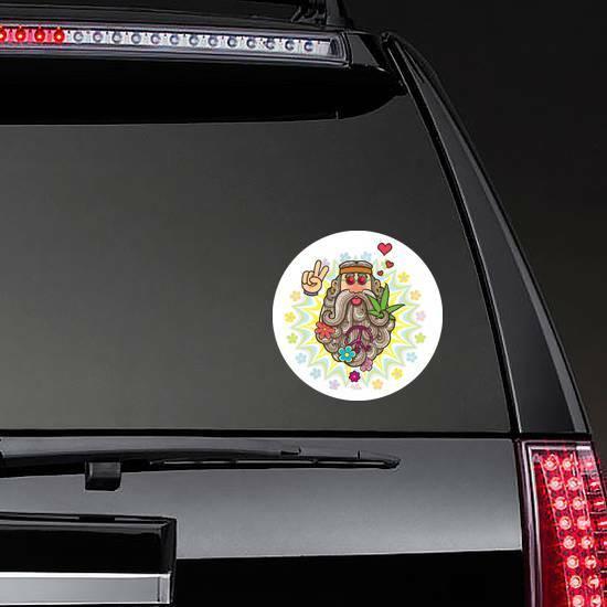 Cartoon Illustration Of Hippie Man Sticker on a Rear Car Window example