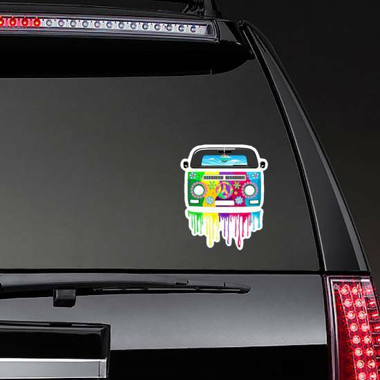 Hippie Van Dripping Rainbow Paint Sticker on a Rear Car Window example