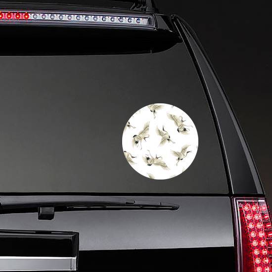 Repeating Japanese Crane Pattern Sticker example