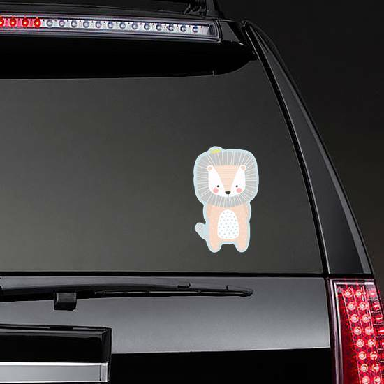 Cute Baby Lion Sticker on a Rear Car Window example