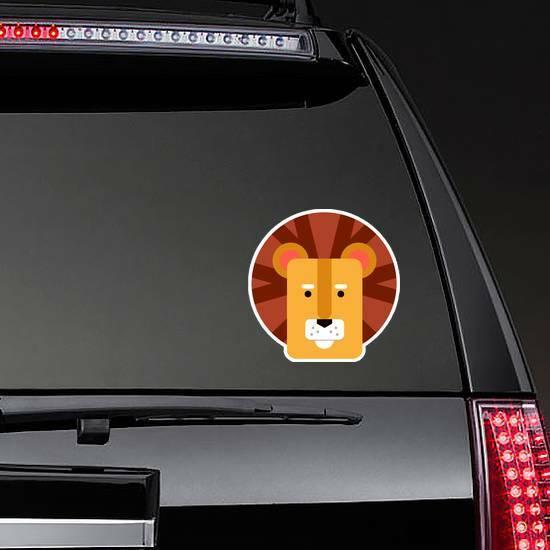 Cute Kids Lion Head Sticker on a Rear Car Window example
