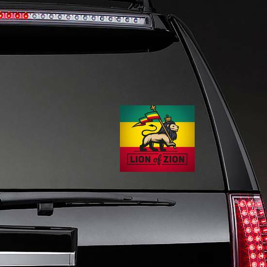 Lion of Zion Sticker on a Rear Car Window example