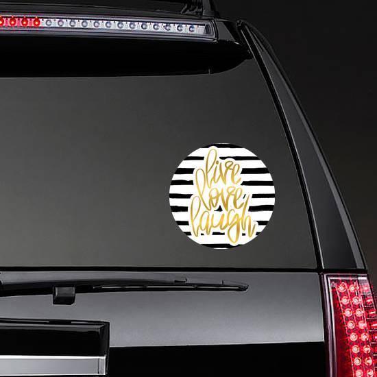 Live Love Laugh Gold On Stripes Sticker