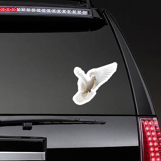 White Dove Beautifully Flies Isolated On White Sticker example