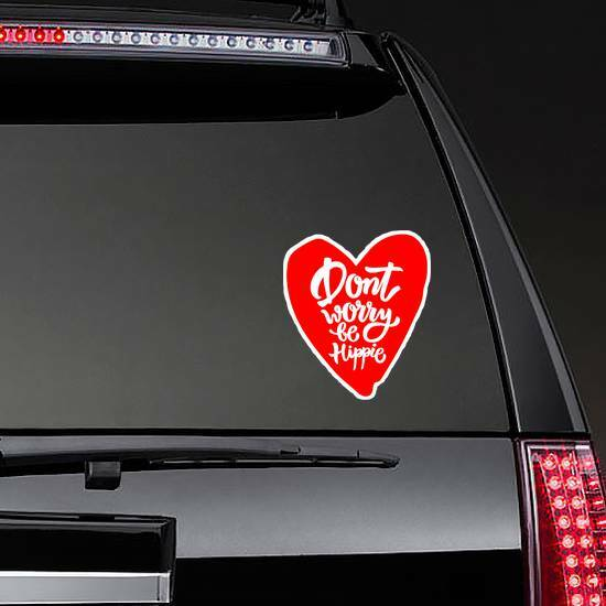 Don't Worry Be Hippie Heart Hippie Sticker on a Rear Car Window example