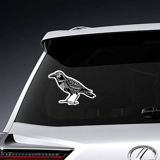 Decorated Black Raven Silhouette Sticker example