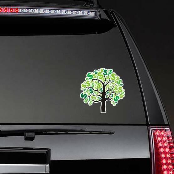 Money Tree Sticker on a Rear Car Window example