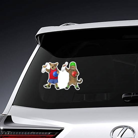 Dog And Cat Athletes Are Bowling Sticker