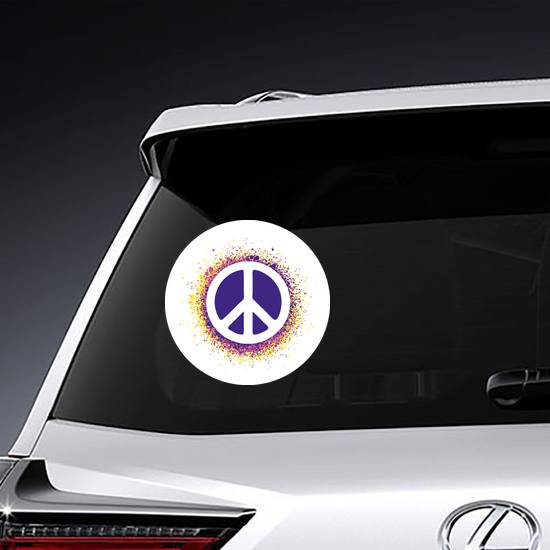 Dot Art Peace Sign Sticker example