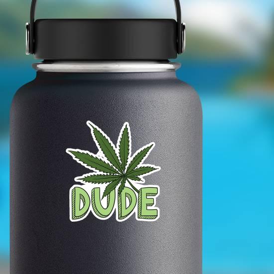 Dude Marijuana Leaf Doodle Sticker