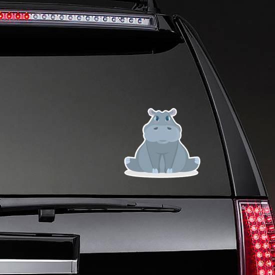Isolated Cute Baby Hippo Cartoon Sticker