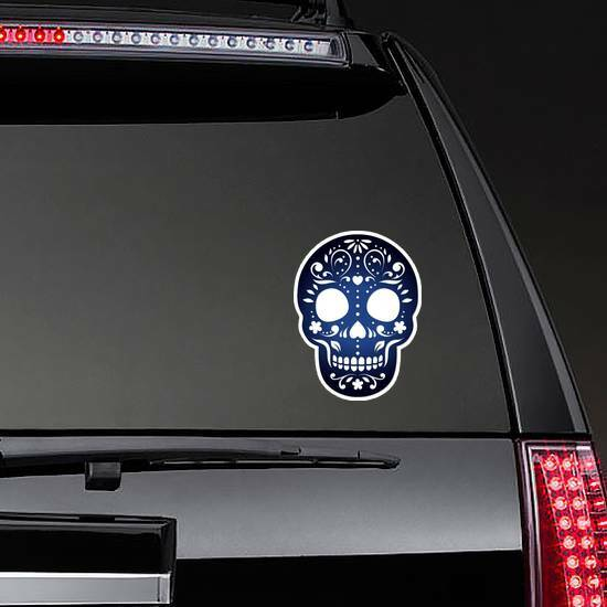 Decorative Ornamental Sugar Skull Silhouette Sticker on a Rear Car Window example