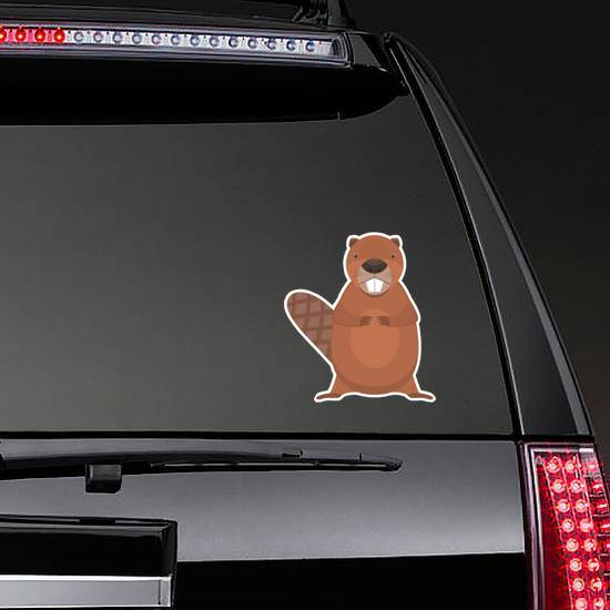 Cute Cartoon Flat Standing Beaver Sticker