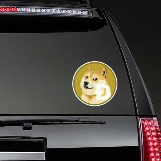 Standard Dogecoin Sticker on a Rear Car Window example