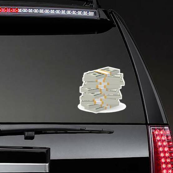 Big Stack of Money Sticker on a Rear Car Window example