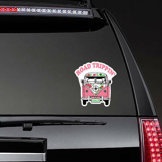 Road Trippin Pink Hippie Van Sticker on a Rear Car Window example