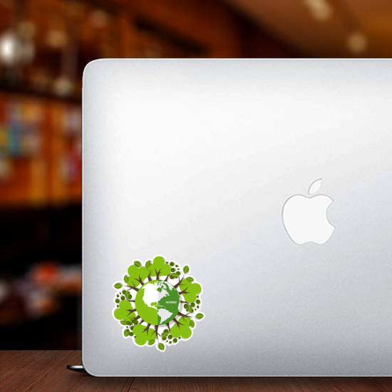 Eco Friendly Earth And Trees Sticker