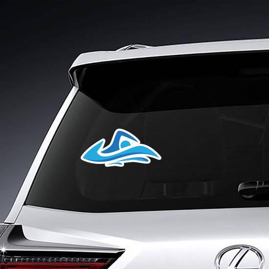 Education Swim Blue Color Logo Design Sticker example