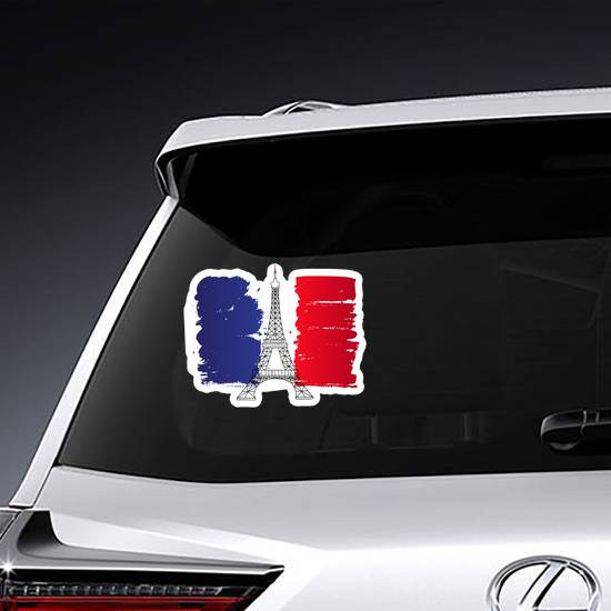 Eiffel Tower Painted France Flag Sticker example