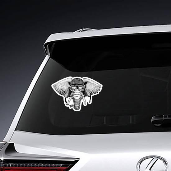 Elephant Wild Biker Animal Wearing Motorcycle Helmet Sticker
