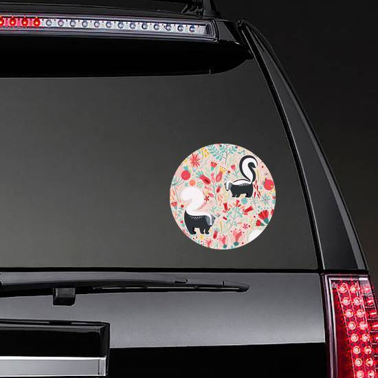 Pattern In Flat Style With Cartoon Floral Skunk Sticker example