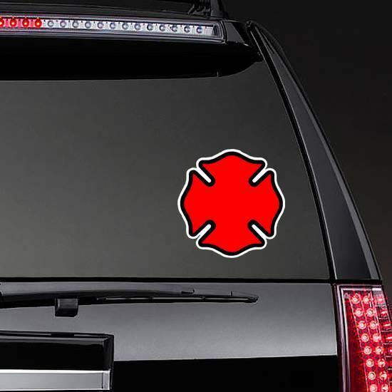 Firefighter Emblem Cross Shape Sticker on a Rear Car Window example