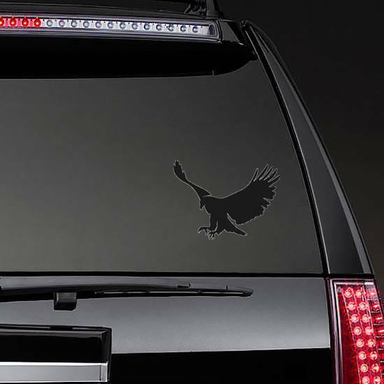 Landing Bald Eagle Silhouette Sticker on a Rear Car Window example