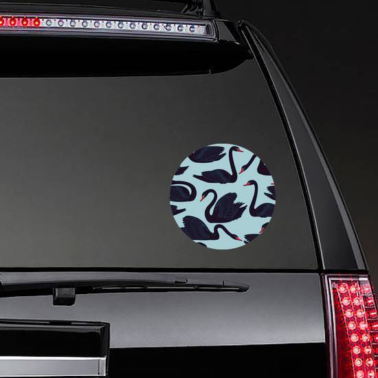 Seamless Hand Painted Black Swans Pattern Sticker example
