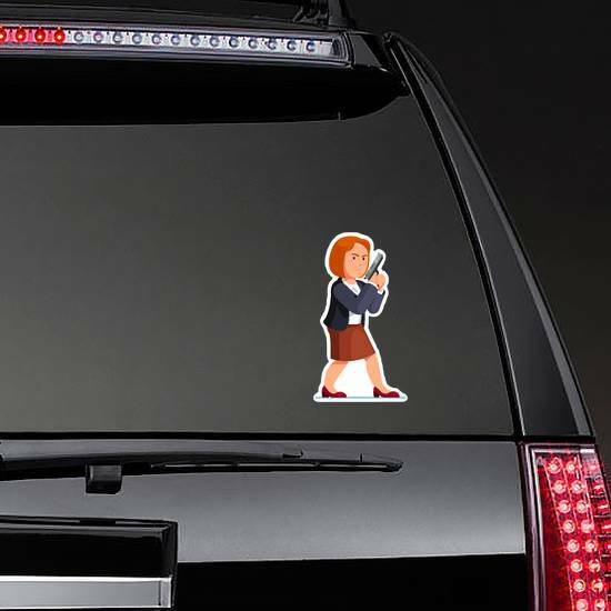 Businesswoman Holding Pistol Sticker on a Rear Car Window example